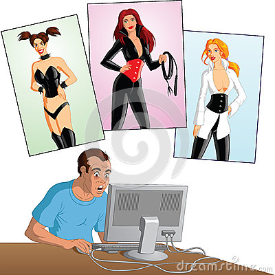 Man on computer with female figures