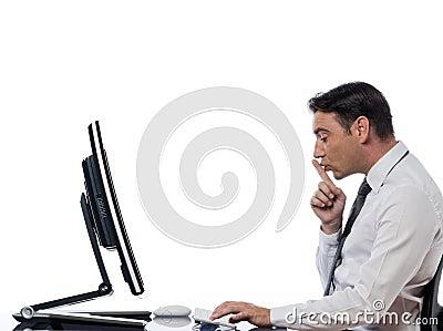 Man computing  computer hush silence