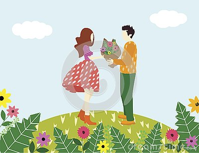 Man confesses love to a woman and give her flower Vector Illustration