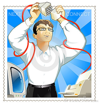 Man connect printer & computer