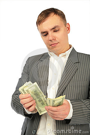Free Man Considers Money Royalty Free Stock Image - 7597846