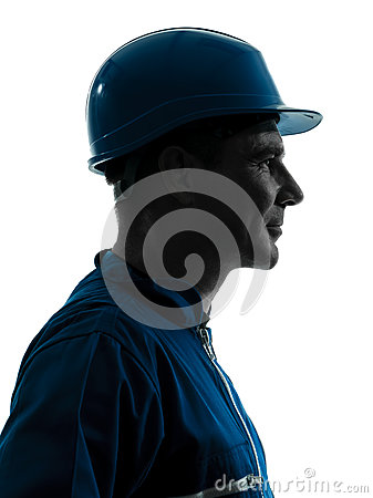 Man construction worker profile portrait