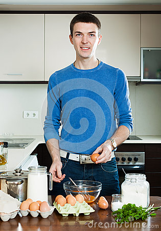 Man Cooking At Home Kitchen Stock Photo - Image: 39178667
