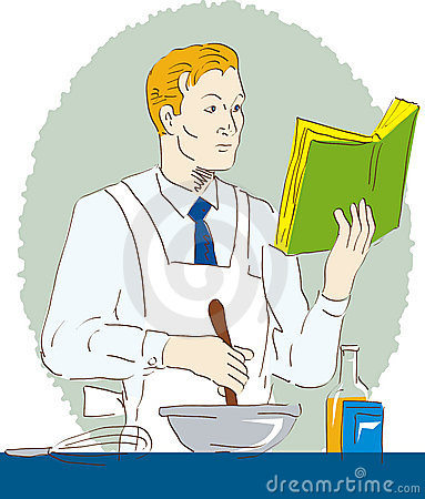 Man cooking with recipe book