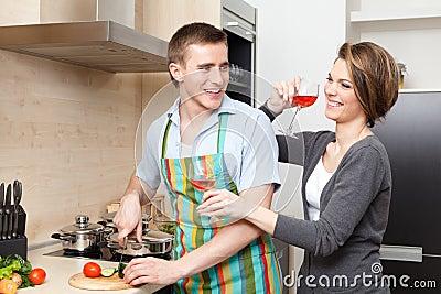 Man cooks dinner