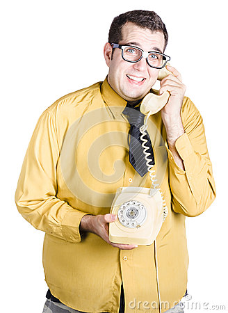 Man with corded phone