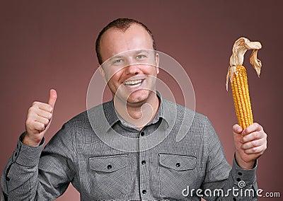 Man with corn