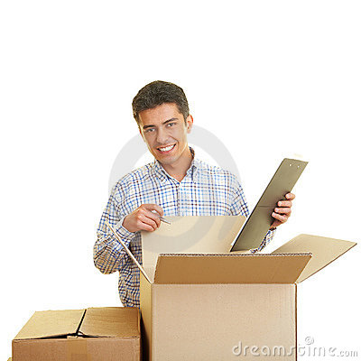 Man counting boxes