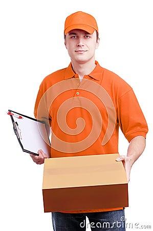 man courier in orange