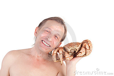 Man with crab