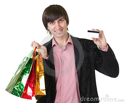 Man with credit card and shopping bags