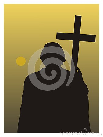 Man with a cross. Vector Stock Photo