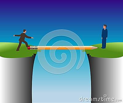 Man crossing pencil bridge