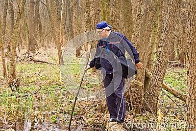 Man crossing a swamp