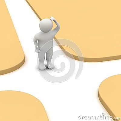 Man and crossroad