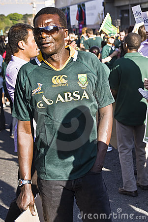 Man in crowd for farewell to Boks Editorial Photography