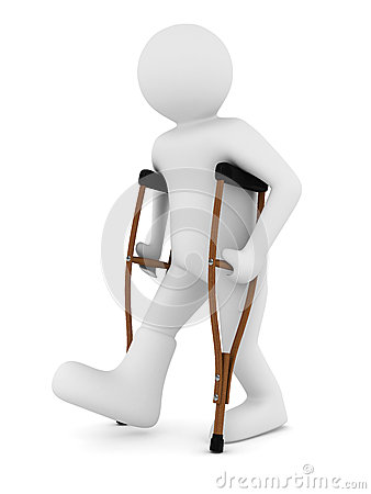 Man on crutches on white background
