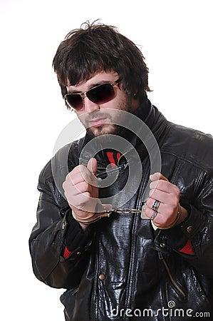 Man cuffed