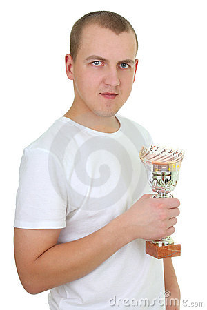 Man with cup of money