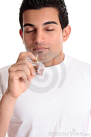 Man or customer smelling perfume  cologne