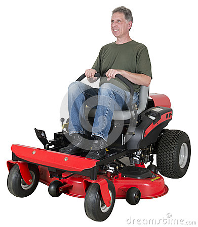 Man Cut Grass or Lawn on Zero Turn Mower Isolated