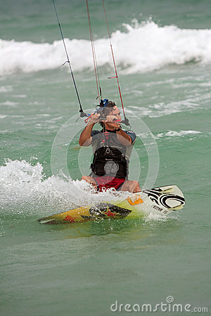 Man Cuts Through Water Parasail Surfing In Florida Editorial Photography