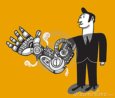 Man with cybernetic arm