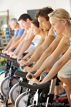 Free Man Cycling In Spinning Class Stock Image - 16302871