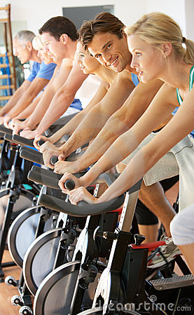 Man Cycling In Spinning Class
