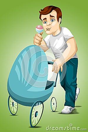 Man dad stroller character cartoon style  illustration