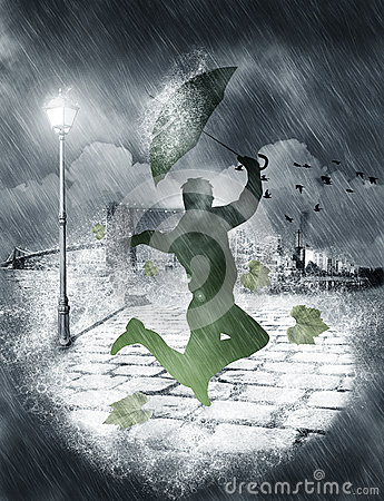 Free Man Dancing In Heavy Rain Royalty Free Stock Image - 51111046
