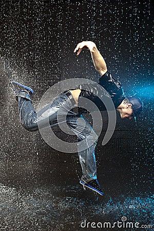 Free Man Dancing In The Rain Stock Photo - 19473420