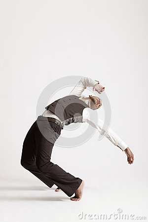 Man Dancing Jazz Over White Background