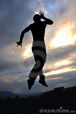 Man dancing and jumping