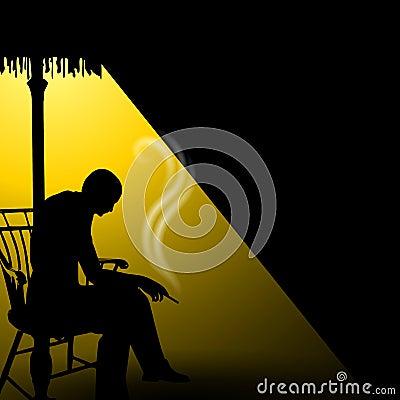 Man In Darkness Smoking Alone