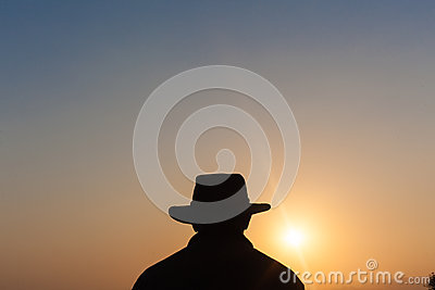 Man Hat Outline Sunset Silhouette