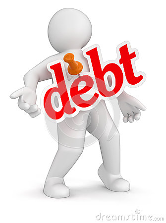 Man and debt (clipping path included)