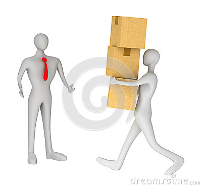 Man delivering a parcel to another 3d man