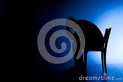 Man in depression and despair