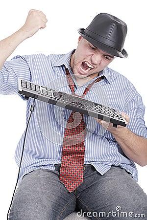 Man destroying keyboard