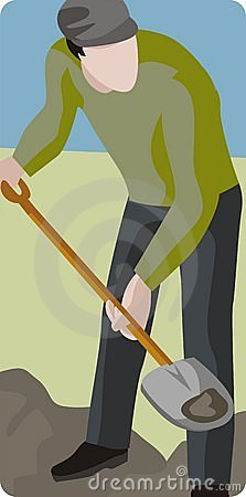 Man Digging with Shovel