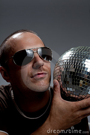 Man with disco ball