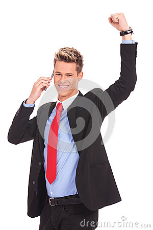Man discussing on a cell phone and winning