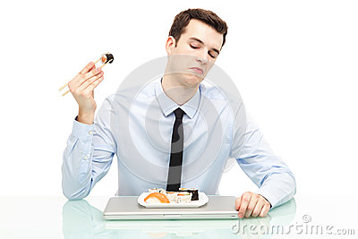 Man disliking sushi