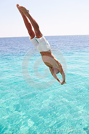 Man Diving Into Sea