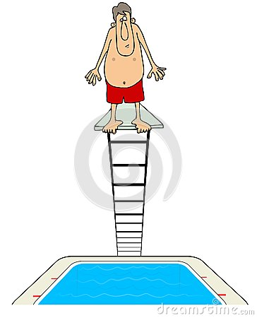 Man on a diving board