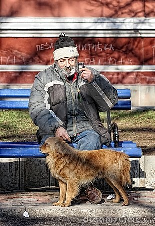 Man and dog Editorial Stock Photo