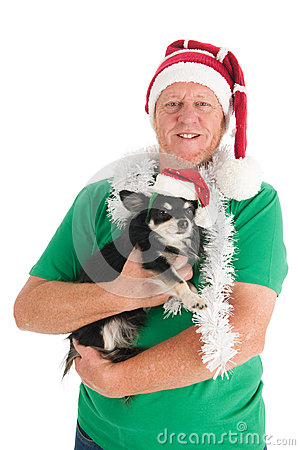 Man with dog as Santa Claus