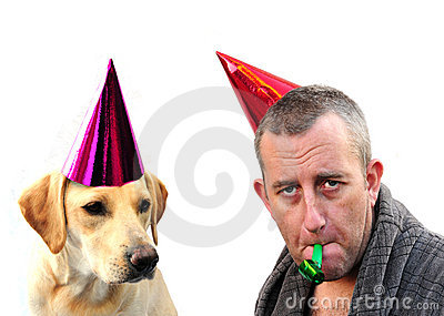 Man and dog partying