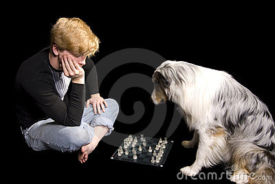 Man and Dog Play Chess